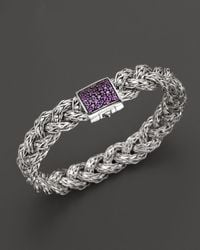 John Hardy - Metallic Sterling Silver And 18k Bonded Gold Dragon Head Braided Chain Bracelet With Ruby Eyes - Lyst