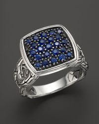 John Hardy | Metallic Classic Chain Silver Lava Small Cushion Woven Shank Ring With Blue Sapphires | Lyst