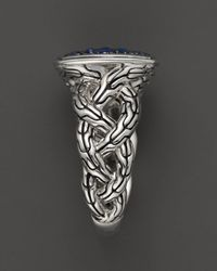 John Hardy - Metallic Classic Chain Silver Lava Small Cushion Woven Shank Ring With Blue Sapphires - Lyst