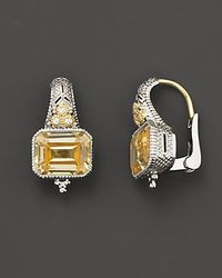 Judith Ripka - Metallic Sterling Silver and 18k Gold Estate Cushion Earrings with Canary Crystal and White Sapphires - Lyst