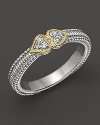 Judith Ripka | Metallic Sterling Silver and 18k Gold Heart Stack Band Ring | Lyst
