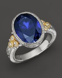 Judith Ripka - Sterling Silver and 18k Gold Oval Stone Estate Ring with White Sapphire and Labcreated Blue Corundum - Lyst