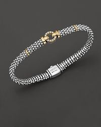 Lagos | Metallic 18k Green Gold And Sterling Silver Caviar And Diamonds Rope Bracelet, 6mm | Lyst