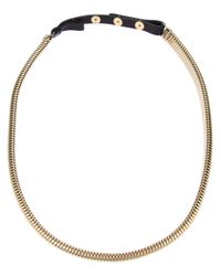 Lanvin - Metallic Metal and Leather Necklace - Lyst