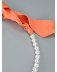 Lanvin - White Pearl and Flower Necklace - Lyst
