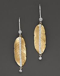 Meira T - Metallic . Diamond And 14k Gold Leaf Earrings - Lyst