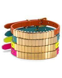 Michael Kors | Metallic Darrington Single Wrap Saffiano Leather Bracelet | Lyst