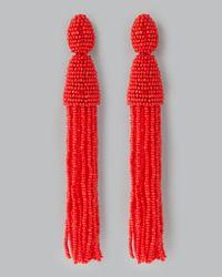 Oscar de la Renta | Red Beaded Long Tassel Earrings | Lyst