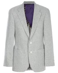 Paul Smith | Gray Top Stitch Linen Blazer for Men | Lyst