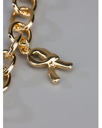 Roberta Di Camerino Metallic Ribbon Charm Necklace