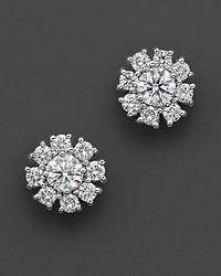 Roberto Coin - 18 Kt. White Gold Diamond Flower Cluster Earrings - Lyst