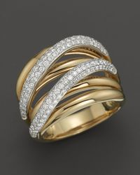 Roberto Coin | Metallic 18k Yellow And White Gold Crossover Diamond Ring | Lyst