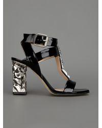 Calvin Klein - Black Highheeled Sandal - Lyst