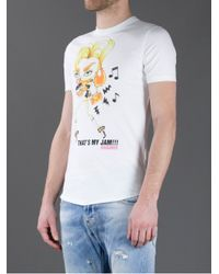 DSquared² White Thats My Jam Printed Tshirt for men