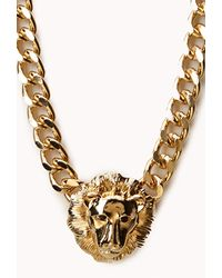 Forever 21 | Metallic Curb Chain Lion Necklace | Lyst
