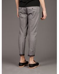Milano Parigi - Gray Cropped Patterned Trouser for Men - Lyst