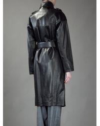 Saint Laurent - Black Leather Coat - Lyst