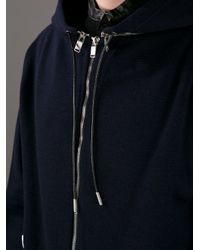 Saint Laurent - Blue Zip Detailed Hoodie for Men - Lyst