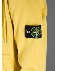 Stone Island Yellow Hooded Sweatshirt for men