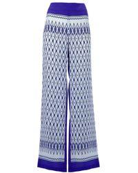 Alberta Ferretti   Blue Wide-leg Printed Silk Pants   Lyst