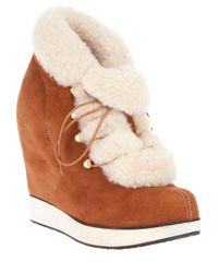 B Store - Brown Salvatore Wedge Ankle Boot - Lyst