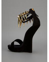 Giuseppe Zanotti - Black Concave Wedge Sandal - Lyst