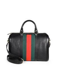 Gucci | Black Vintage Web Medium Boston Bag | Lyst