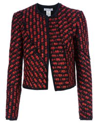 Oscar de la Renta | Red Cropped Jacket | Lyst