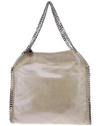 Stella McCartney | Natural Falabella Mini Baby Bella Metallic Faux Suede Tote | Lyst
