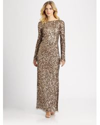 Aidan Mattox | Brown Long-sleeve Sequin Gown | Lyst
