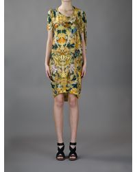 Alexander McQueen | Multicolor Printed Draped Dress | Lyst