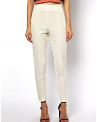 ASOS | White Trousers with High Waist | Lyst
