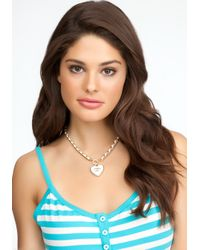 Bebe - Metallic Logo Heart Chain Necklace  - Lyst
