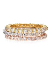 Belargo | Metallic Tricolor Stackable Cz Eternity Rings | Lyst