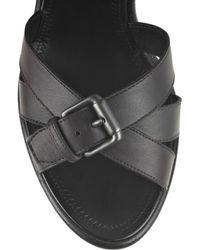 Bottega Veneta | Black Woven Leather Wedge Sandals | Lyst