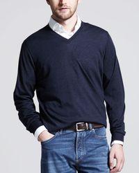 Brunello Cucinelli - Blue Fine-gauge V-neck Sweater for Men - Lyst