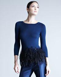 Carolina Herrera | Blue Featherpeplum Top | Lyst
