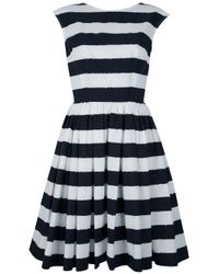 Dolce & Gabbana | Black Striped A-Line Dress | Lyst