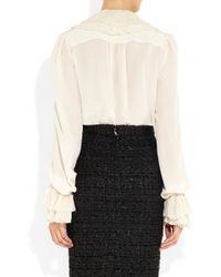 Dolce & Gabbana - White Ruffled Silk Blouse - Lyst