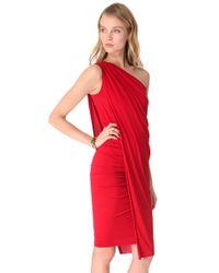 Donna Karan - Red One Shoulder Cocktail Dress - Lyst