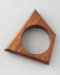 Donna Karan - Brown Trapezoid Wooden Bangle - Lyst