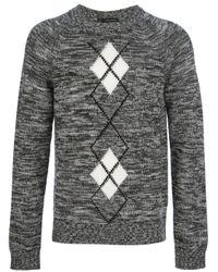 DSquared² | Gray Argyle Knitted Jumper for Men | Lyst