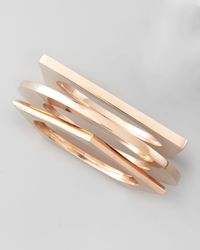Eddie Borgo | Pink Set Of 3 Geometric Bangles Rose Golden | Lyst