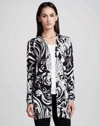 Emilio Pucci - Black Long Printed Silk Cardigan - Lyst