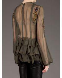 Emilio Pucci - Green Ruffle Detail Shirt - Lyst