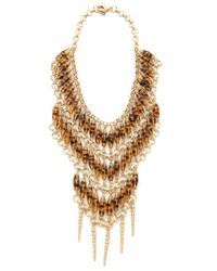 Fallon - Metallic Durango Beaded Bib Necklace - Lyst