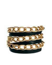 Gorjana | Black Graham Leather and Chain Triple Wrap Bracelet for Men | Lyst