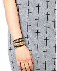 Gorjana - Black Graham Leather and Chain Triple Wrap Bracelet for Men - Lyst