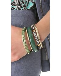 Iosselliani - Green Brass Faceted Agate Bangle Set - Lyst