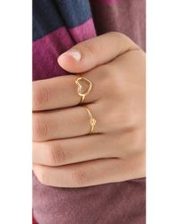 Jacquie Aiche - Metallic Ja Double Ring With Bezel - Yellow Gold - Lyst